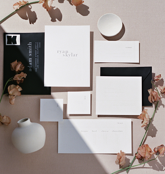 Minimal Neutral Semi-Custom Wedding Invitations