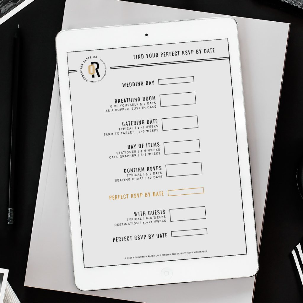 Find the perfect RSVP by Date for your wedding with this worksheet from Revolution Paper Co