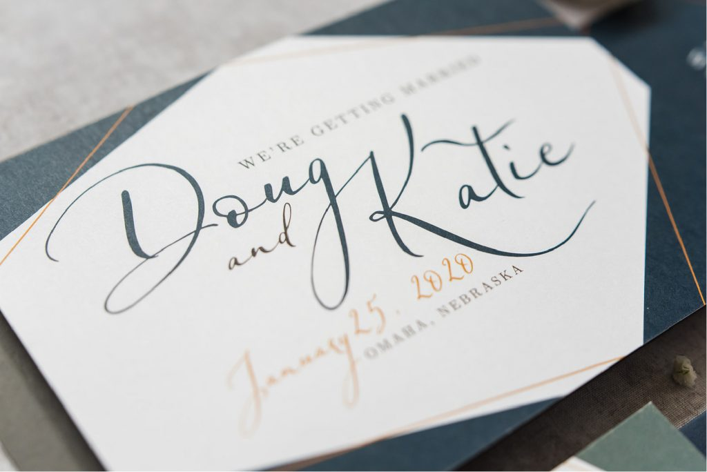 Geometric Luxury Save the Date notifying guests of the couples wedding date